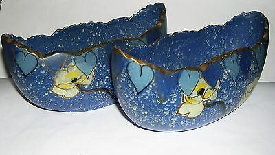 Art Pottery - Pair Hand Painted Boat Shaped Vases - Numbered To Base.
