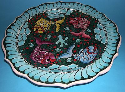 Kutahya Art Pottery - Attractive Fully Signed Decorative Fish Design Wall Plate.