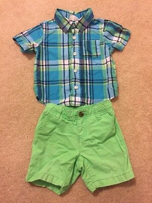 CRAZY 8 by GYMBOREE Green Blue Button Down TOP & Green ShortS Size 12-18 Months