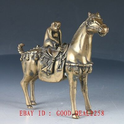 Vintage Chinese Brass Han Made Carved Horse & monkey Statue (马上封侯)HT135