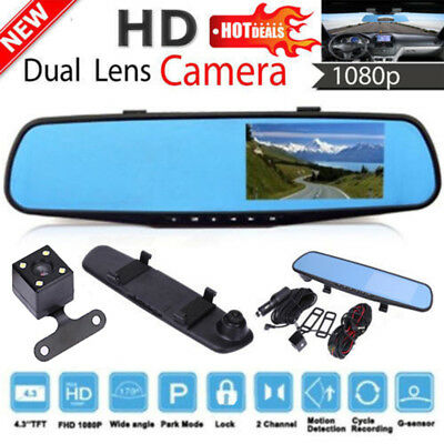 "Front & Rear Dash Camera Dual Lens Rearview Mirror Cam 4.3"" 1080P HD LCD Screen"