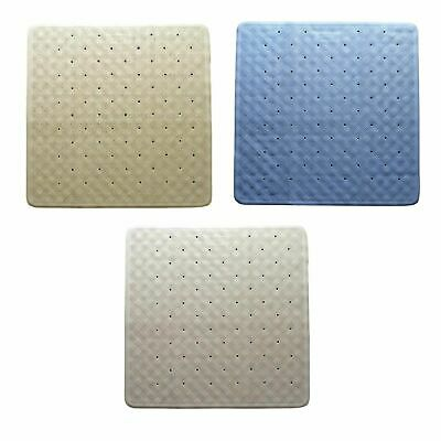 NEW RUBBER SHOWER MAT Bathroom Bath Non Slip Square BLUE BEIGE WHITE  54 x 54cm