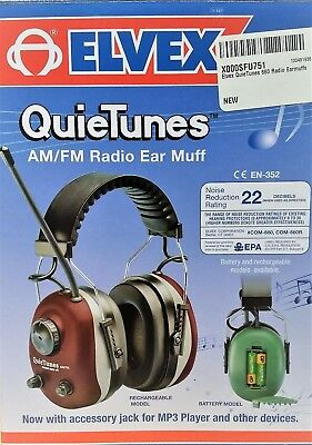 Elvex QuieTunes 660 AM/FM Radio Ear Muff with accessory jack for MP3 Burgundy