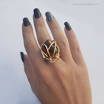 Unique Waterproof  Bib Agate Stone Gold Tone Ring Ancient Greek Museum Inspired