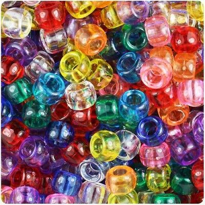 TRANSPARENT Pony Beads 9x6mm 500pcs Hair Braid, Mixed Colours, Spacer