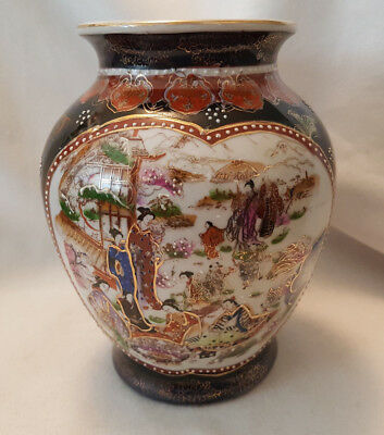 Vintage Oriental  Pottery Vase Made in China black red H -  19cm