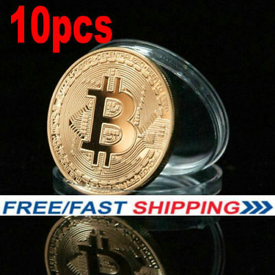 10PC Rare Bitcoin Collectible gift In Stock Golden Iron Commemorative Coin Gifts