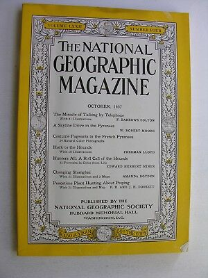 NATIONAL GEOGRAPHIC October 1937 Telephone Pyrenees Shanghai Peiping Beijing