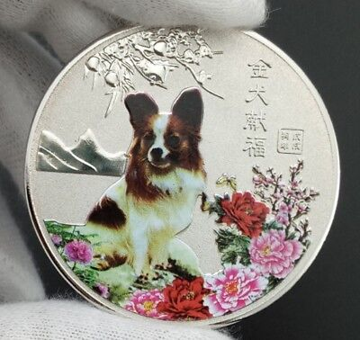 Chinese Zodiac Blessing Wealth Lunar Year of the Dog 2018 Silver Plated Coin