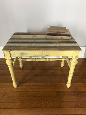 ANTIQUE Handmade Small RUSTIC Distressed Yellow RECLAIMED WOOD TABLE Stand BENCH