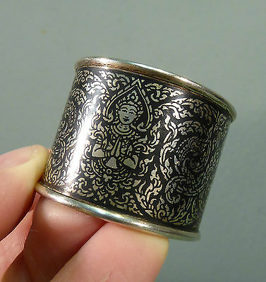 Antique Thai Niello Silver Napkin Ring - Finest Quality Siam Rare