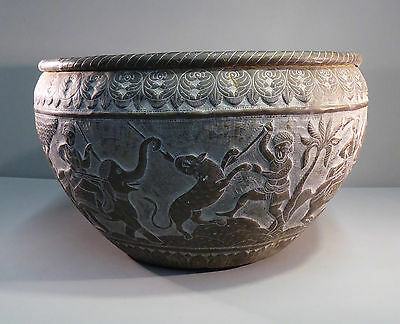 Antique Mughal Indo Persian Lion Hunt Repousse Brass Jardiniere - Finest Work