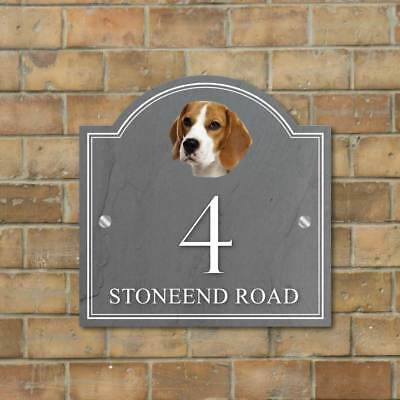 Beagle House name sign, House Number Dog Sign Personalised Beagle Dog House Sign