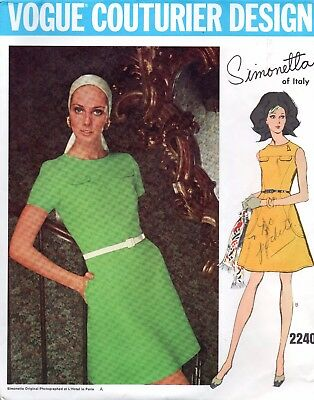 Vogue Simonetta Couturier Design 2240 Sewing Pattern Mod Retro Dress 1960s
