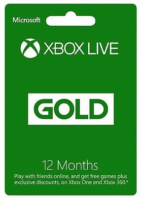 12 Month Microsoft Xbox Live Gold Membership Subscription physical card