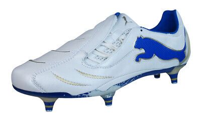 Puma PowerCat 1.10 SG Mens Leather Football Boots / Cleats - White Blue