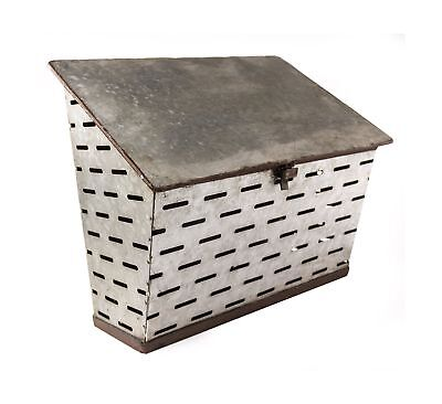 Galvanized Metal Antique Milk Delivery Box Post MailBox - Shabby Chic Dcor