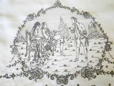 Appenzell Linen Tea Towel W.architectual Elements, Figures In Period Dress