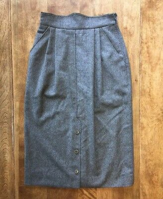 Vtg G.Gucci 100% Wool Light Gray Straight Pleated Skirt Sz 40 Pockets Buttons