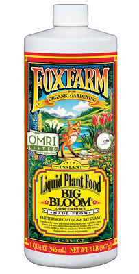 Fox Farm Big Bloom 1 Quart 32 oz organic nutrients hydroponics