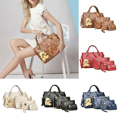 4Pcs Women Pu Leather Bag Shoulder Handbag Tote Messenger Crossbody Clutch Purse