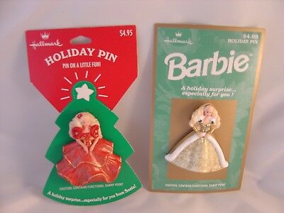 Hallmark 1995 1996 HAPPY HOLIDAYS BARBIE Pins on Card Red & Gold Dress NEW cond