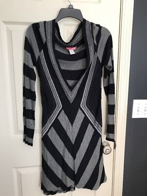 Lux Urban Outfitters Womens Sweater Dress Tunic Size L Navy Grey