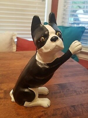 "VTG CAST IRON BLACK & WHITE BOSTON TERRIER DOG DOOR STOP 4 lbs 8.75"" tall VGC"