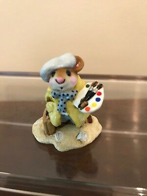 """Wee Forest Folk  M-71  """"Arty Mouse"""" Retired .. mint condition .. used"""