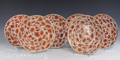 NICE SET OF 6 LARGE OLD CHINESE SACRED BIRD AND BUTTERFLY PLATES BOWLS - 1800's