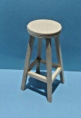 Dollhouse Miniature Counter or Bar Stool Handcrafted unfinished wood 1:12 scale