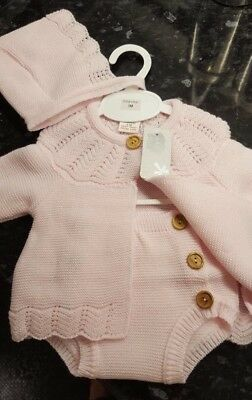 Spanish Style Baby Girl Pink Knitted Cardigan, Jam Pants and Bonnet Set 3 Piece