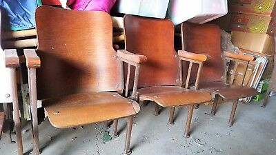WOW! REDUCED Vintage Wood Theater Iron Seating Chairs 5 Sections Avail $65 Each!
