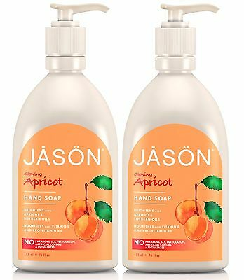 JASON Glowing Apricot Hand Soap 2x473ML -FREE FROM PARABEN, SLS, HARSH CHEMICALS