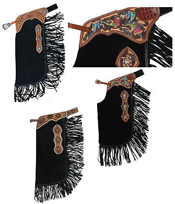Western Saddle Horse Show Or Ranch Black Suede Leather Chinks W/ Fringe S M L Xl