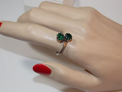 Vintage Emerald Green Glass Rhinestone Bypass Silver tone Adjustable Ring 2d 67