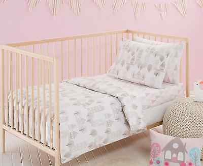 3 pce Baby Girls Priya Cot Quilt Cover Pillow Case Wool Quilt Nursery Bedding