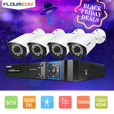 8CH 1080N CCTV 5 IN 1 TVI AHD DVR + 4 X 3000TVL 2.0MP Camera Security System Kit