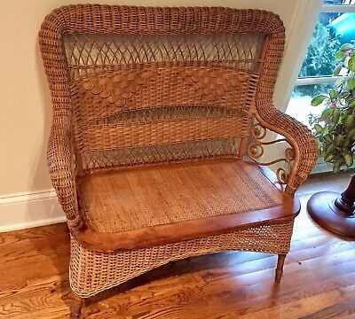 Antique Natural Wicker Bench Settee Loveseat by Larkin Company
