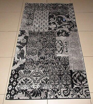 New Grey/black Modern Heatset Hallway Floor Runner Rug 80X150Cm