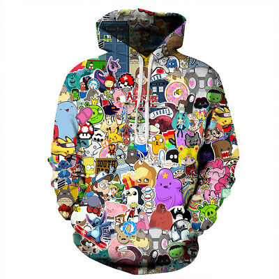 New Womens Mens Cartoon Anime 3D Print Sweatshirt Hoodies Pullover Casual Coat