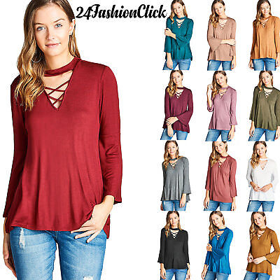 Women Solid Long Bell Sleeve Cross Strap V Neck Choker Spandex Jersey Top Blouse