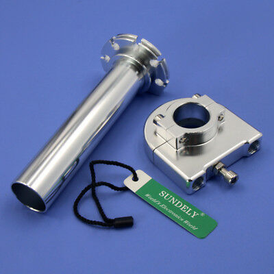 """NEW CNC Aluminum Universal Motorcycle Twist Throttle Assembly 7/8"""" 22mm Silver"""