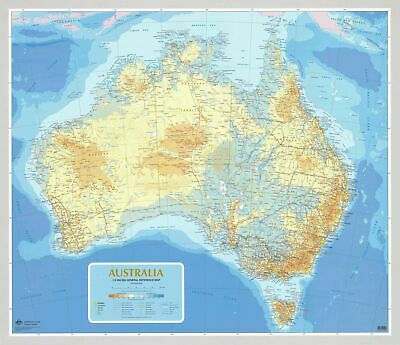 Australia 5M General Reference Map 1000 x 870mm Laminated Wall Map with Hang ...