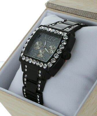 Men Hip Hop Fully Iced Out Black Plated Rapper;s Metal Band CZ Luxury Watch