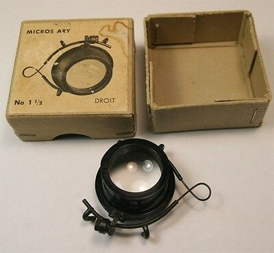 VINTAGE  MICROS ARY MAGNIFIER No.1 ½ DROIT Swiss Made  Near MINT in box