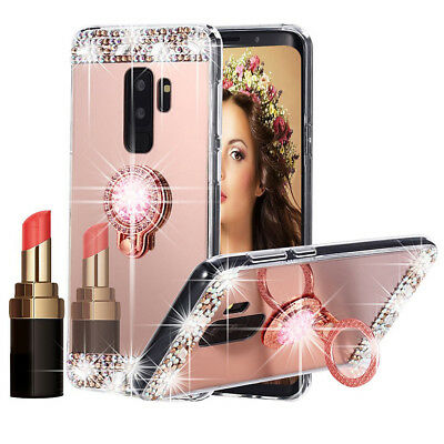 For Samsung S9 S8 Bling Crystal Diamond Mirror TPU Soft Case Cover &Ring Holder