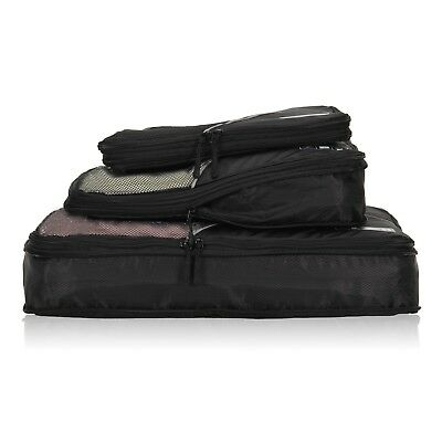 3 Pieces Set Travel Compression Packing Cubes Expandable Packing Organizer