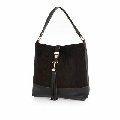 Ex River Island Black Faux Leather and Suede Tote Bag Black Shopper Large Bag