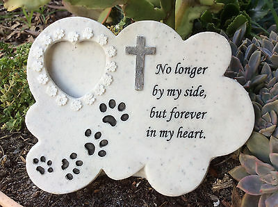Pet Memorial Plaque with Photo Holder.  Headstone for dog or cat or pet.